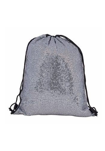 DRAWSTRING BACKPACK - SILVER SEQUIN