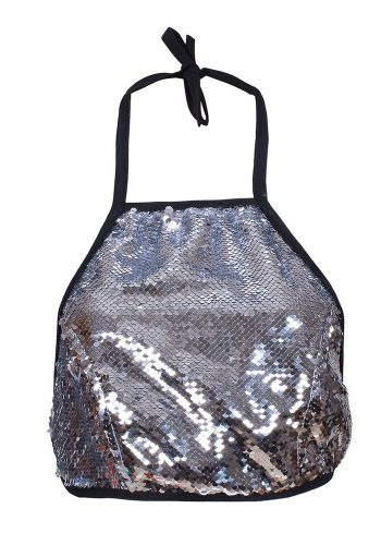 HALTERNECK TOP - SILVER SEQUIN