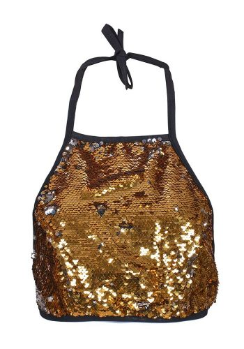 HALTERNECK TOP - GOLD SEQUIN