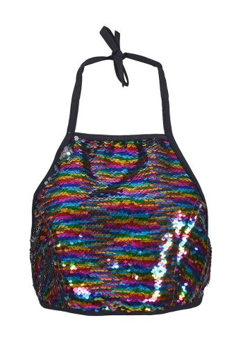 HALTERNECK TOP - RAINBOW SEQUIN