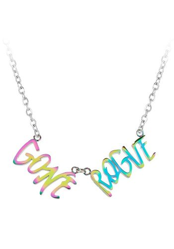 ESA EVANS GONE ROUGE WORD NECKLACE - PETROL