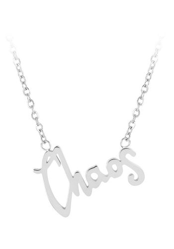 ESA EVANS CHAOS WORD NECKLACE - POLISHED STEEL