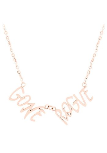 ESA EVANS GONE ROUGE WORD NECKLACE - 18K ROSE GOLD PLATE