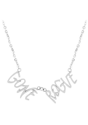 ESA EVANS GONE ROUGE WORD NECKLACE - POLISHED STEEL