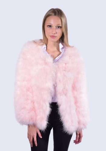 AMELIA JANE LONDON FEATHER JACKET - CANDY PINK