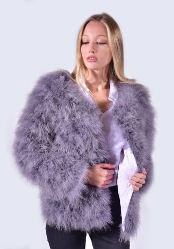 AMELIA JANE LONDON FEATHER JACKET - CLOUDED GREY