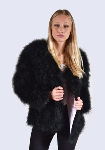 AMELIA JANE LONDON FEATHER JACKET – MIDNIGHT BLACK