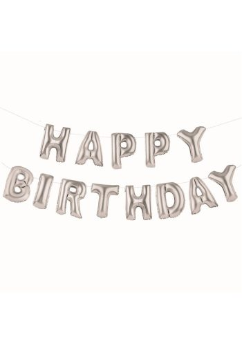 TALKING TABLES - HAPPY BIRTHDAY BALLOON BANNER - SILVER