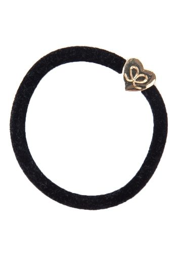 BYELOISE VELVET GOLD HEART - BLACK