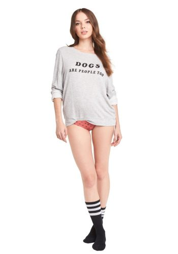 WILDFOX DOGS BAGGY BEACH JUMPER - HEATHER