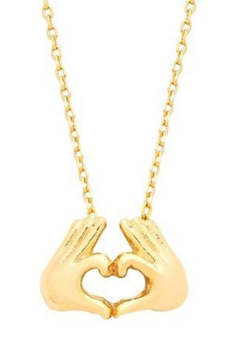 ESTELLA BARTLETT HEART HAND NECKLACE - GOLD PLATED