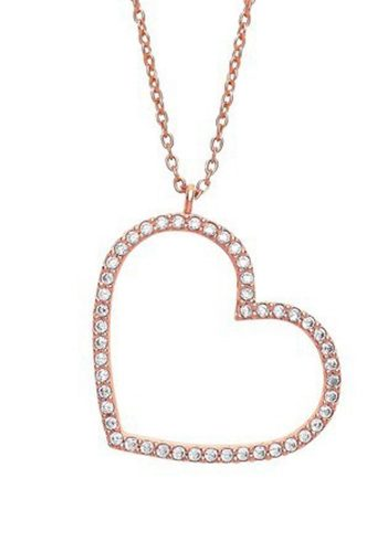 ESTELLA BARTLETT LARGE CZ HEART NECKLACE - ROSE GOLD PLATED
