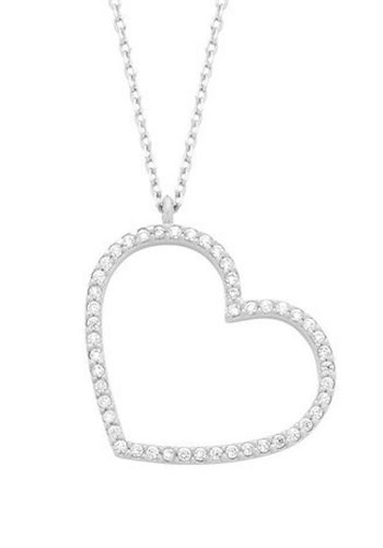 ESTELLA BARTLETT LARGE CZ HEART NECKLACE - SILVER PLATED