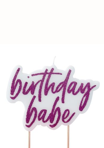GINGER RAY BIRTHDAY BABE HOT PINK GLITTER CANDLE