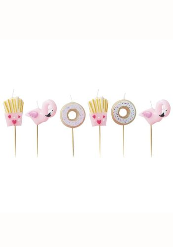 GINGER RAY FRIES DONUT AND FLAMINGO SHAPED CANDLES KIT