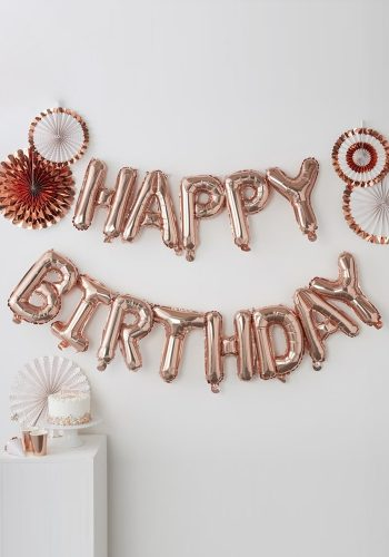 GINGER RAY ROSE GOLD HAPPY BIRTHDAY BALLOON BUNTING