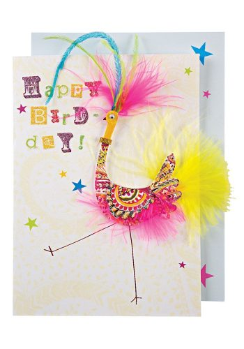 MERI MERI PATTERNED BIRD WITH FEATHERS CARD