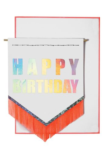 MERI MERI NEON FRINGE BIRTHDAY CARD