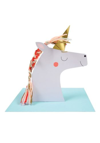 MERI MERI UNICORN WITH COLORED BRAID CARD
