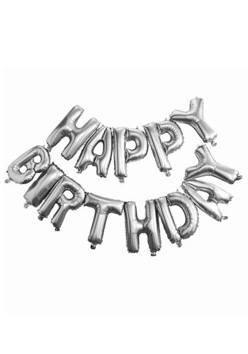 GINGER RAY SILVER HAPPY BIRTHDAY FOIL BALLOON BUNTING
