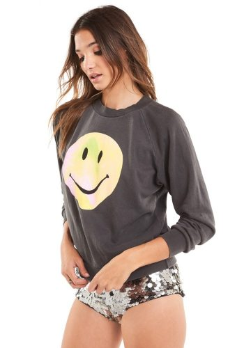 WILDFOX PSYCHEDELIC SMILEY JUNIOR SWEATER - PIGMENT BLACK