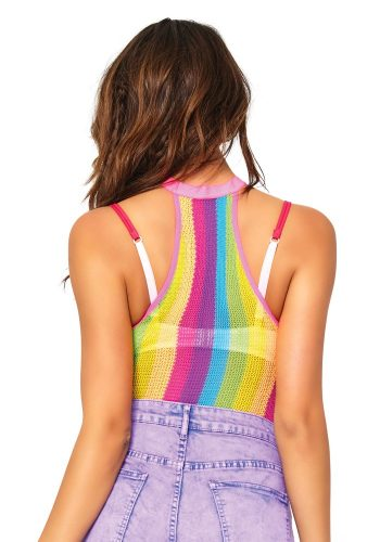 LEG AVENUE NEON RAINBOW STRIPED HALTER BODYSUIT
