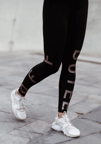 OFF DUTEE - HONEYCOMB LOGO LEGGINGS - BLACK