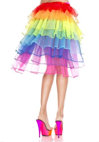 MUSIC LEGS LONG TULLE BACK PANEL SKIRT - NEON RAINBOW