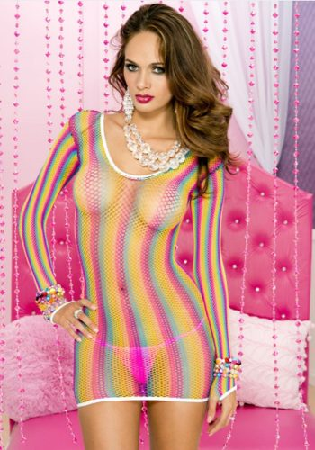 LEG AVENUE FISHNET MINI DRESS - NEON RAINBOW