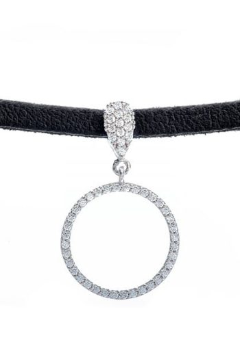 LUCKY EYES - LEATHER CHOKER - SILVER CIRCLE