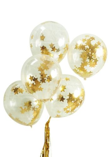 GINGER RAY GOLD STAR CONFETTI BALLOONS X 5
