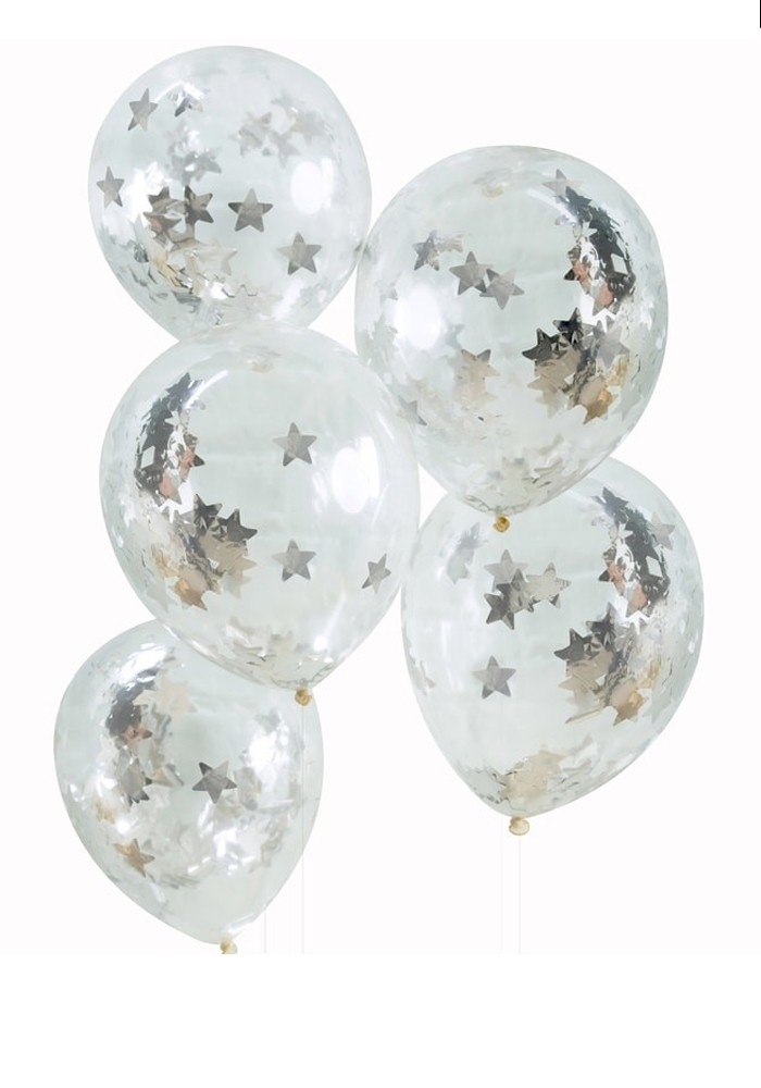 GINGER RAY SILVER STAR CONFETTI BALLOONS X 5