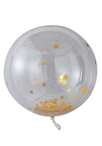 GINGER RAY LARGE GOLD CONFETTI ORB BALLOONS
