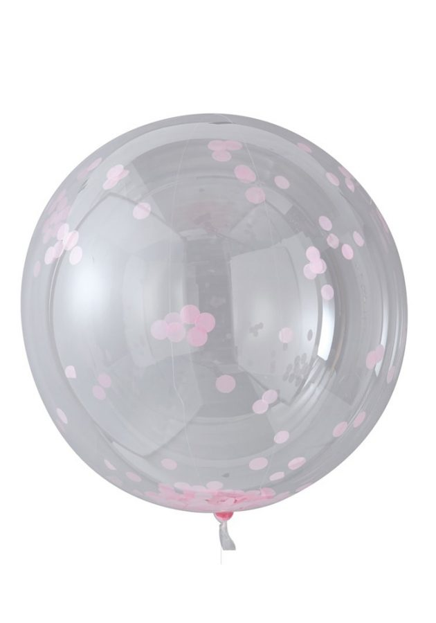 GINGER RAY LARGE PINK CONFETTI ORB BALLOONS X 3