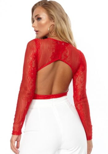 LACE PLUNGE NECK BODY - RED