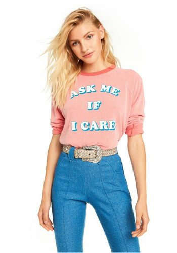 WILDFOX ASK ME IF I CARE JUNIOR SWEATER - PIGMENT HOT LIPSTICK
