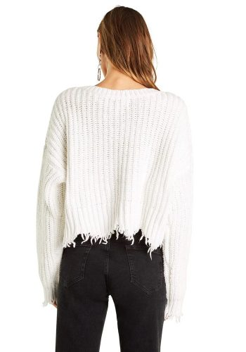 WILDFOX TROUBLE STORM SWEATER - CLEAN WHITE