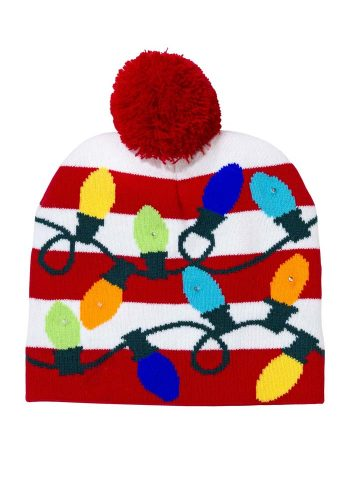 CHRISTMAS ENTERTAINMENT LIGHT UP POM POM HAT