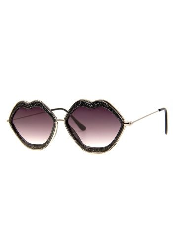 A J MORGAN LIPS SUNGLASSES – BLACK GLITTER