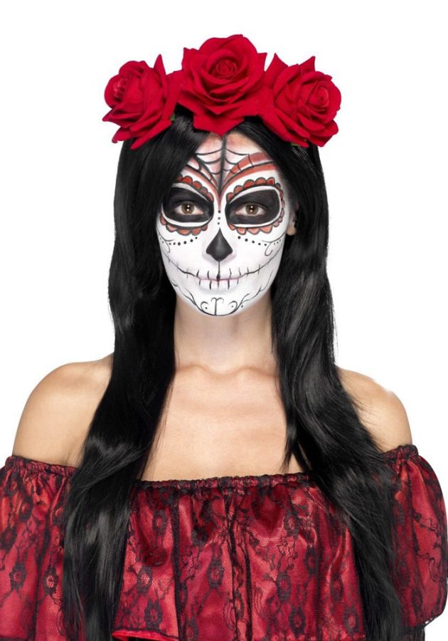 DAY OF THE DEAD ROSE HEADBAND – RED