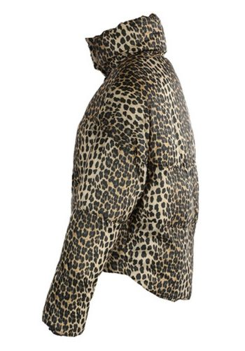 LEOPARD QUILTED CROPPED PUFFA JACKET