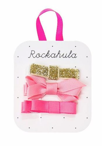 ROCKAHULA GROSGRAIN TWISTED BOW CLIPS - GOLD