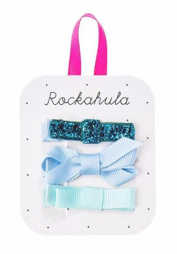 ROCKAHULA GROSGRAIN TWISTED BOW CLIPS - BLUE