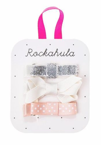 ROCKAHULA GROSGRAIN TWISTED BOW CLIPS - SILVER