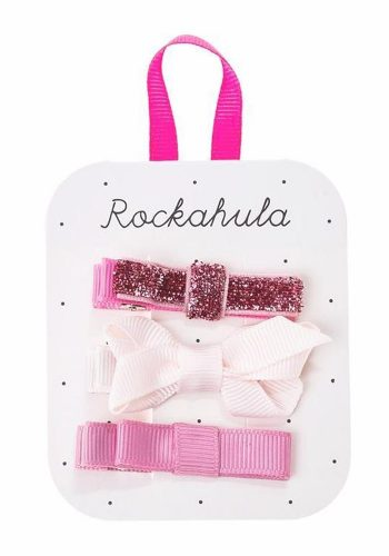 ROCKAHULA GROSGRAIN TWISTED BOW CLIPS - PINK