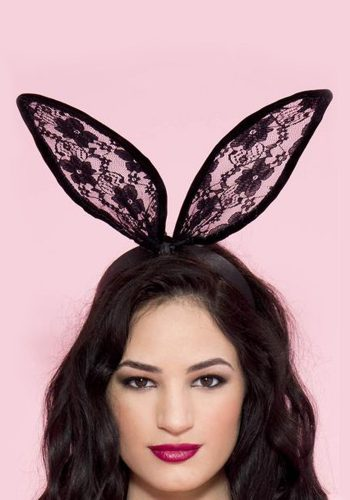 LACE BUNNY EARS HEADBAND - BLACK