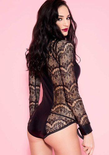 MUSIC LEGS LONG-SLEEVE LACE BODY - BLACK