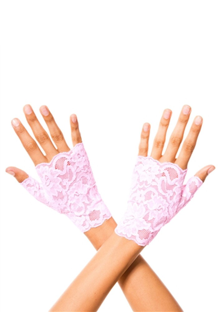 Lace Fingerless Gloves – Pink