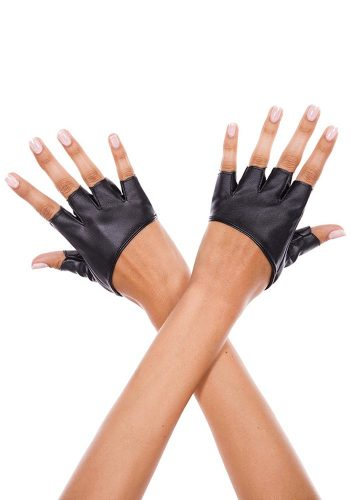 SHORT FAUX LEATHER FINGERLESS GLOVES – BLACK