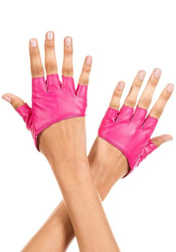 SHORT FAUX LEATHER FINGERLESS GLOVES - PINK